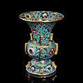 A rare cloisonné enamel vase,zun, xuande period (1426-1435)