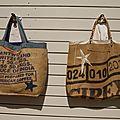 Sac de plage, cabas grandes dimensions réalisés dans sac à café provenance inde et côte d'ivoire - modèle unique