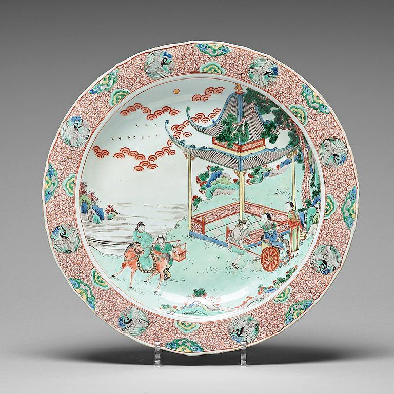 A famille verte charger, Qing dynasty, Kangxi (1662-1722)