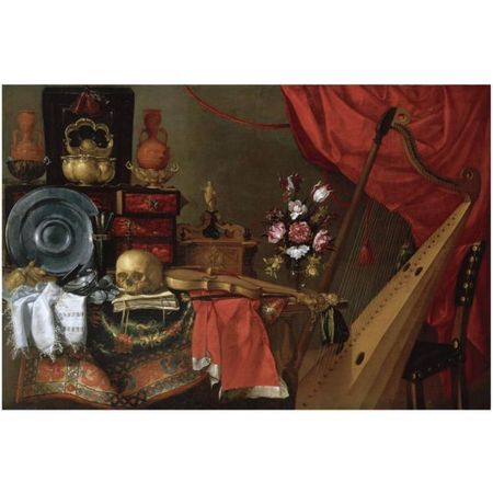 School of Madrid, circa 1650, a vanitas still life with a skull,