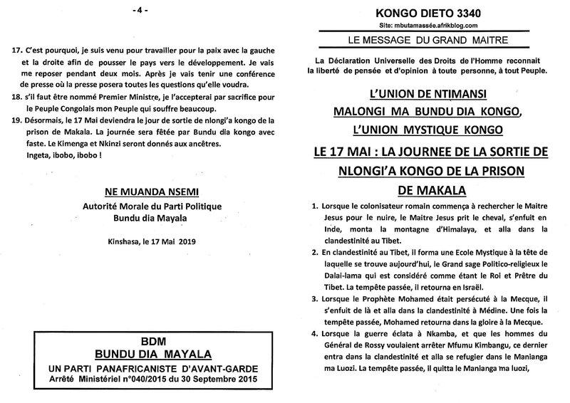LE 17 MAI LA JOURNEE DE LA SORTIE DE NLONGI A KONGO DE LA PRISON DE MAKALA a