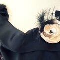 bijou broche fleur cheveux noir plumes champagne perle fantaisie mariage soirée cereza deco 1