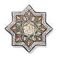 A kashan lustre pottery star tile, persia, 13th-14th century