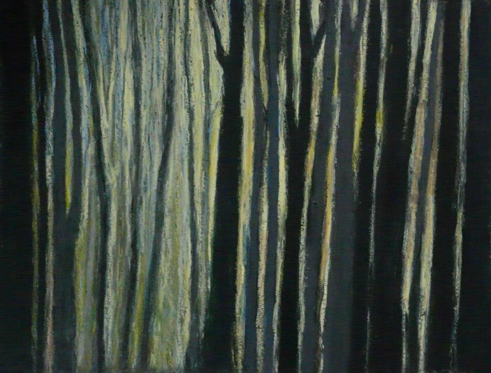 Forêt #44, 2012, pastel à l'huile, 32 x 24 cm