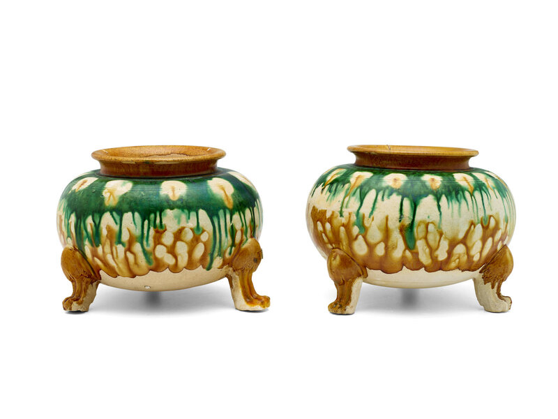 Two sancai-glazed pottery tripod jars, Tang dynasty (618-907)