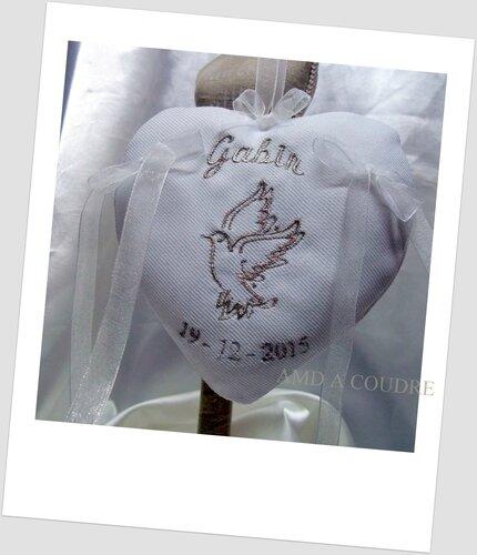 coussin porte bijoux, porte alliance personnalisable pour bapteme, mariage, pacs par #amd a coudre
