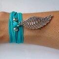 Bracelet -Manchette 'Aile & Soie' turquoise