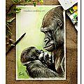 Portrait d'une gorille et son petit