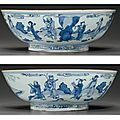 A large blue and white 'immortals' bowl, shunzhi period, circa 1650