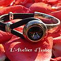 Bracelet demi jonc cuir gris et strass svarowski