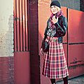 Polish girl, scottish tartan, french street - fashion - marta