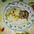Filet mignon de porc en papillote aux legumes et a la polenta de riz, sans gluten, sans cereales modifiees, sans lait