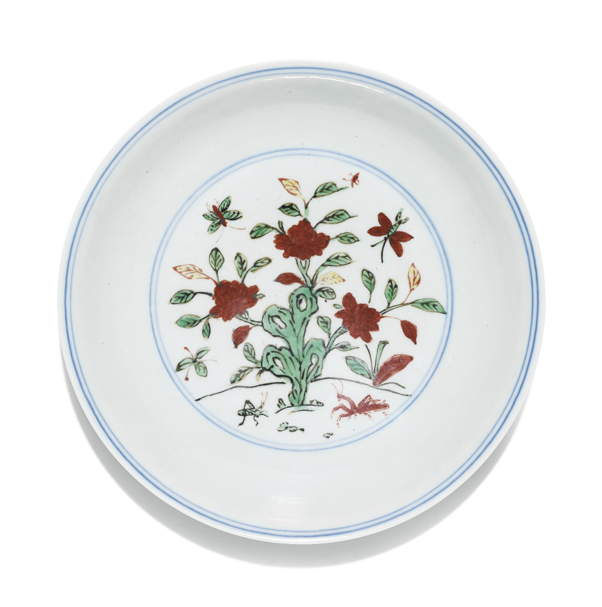 A wucai 'butterfly and peony' dish, Jiajing mark and period