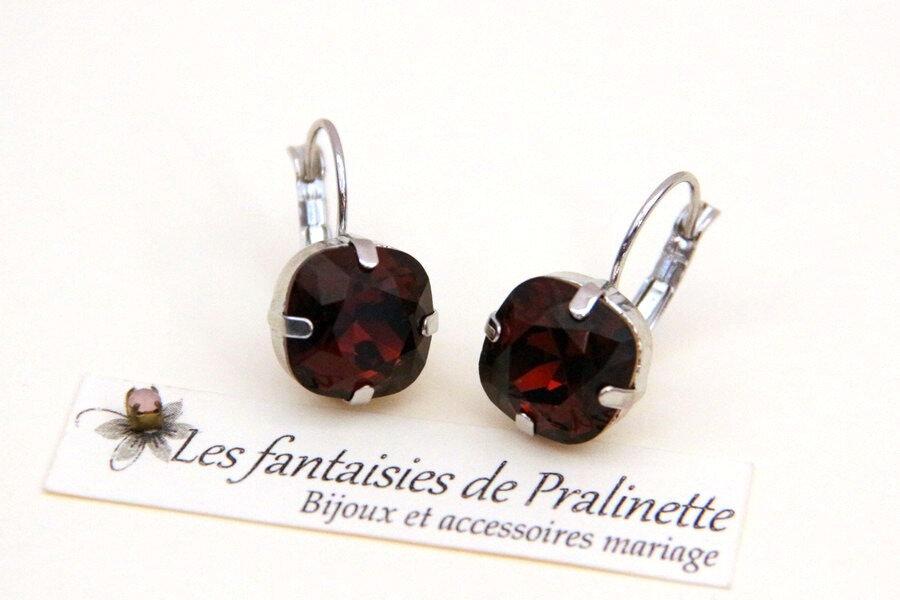 bijoux-mariage-soiree-temoin-cortege-boucles-d-oreilles-Soline-cristal-bordeaux-et-argenté-rhodié