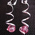 B.o. clips spirales argentées & perles roses
