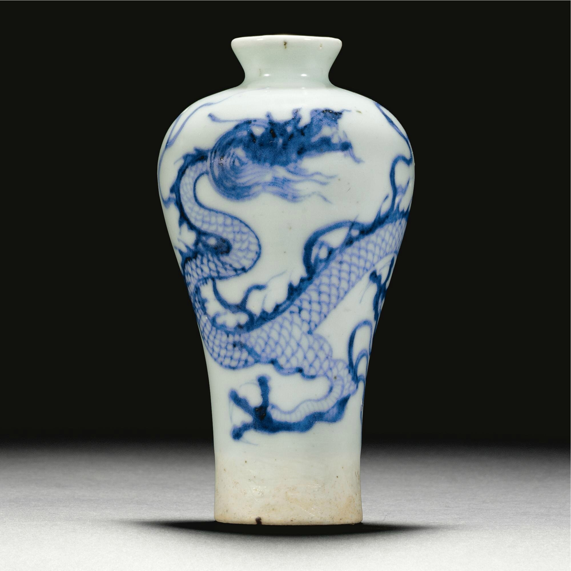 A small blue and white `dragon' meiping, Yuan dynasty (1279-1366)