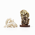 Two ming style jades of a horse and a lingzhi fungus, china, qing dynasty (1644-1912)