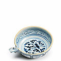 A rare blue and white pouring bowl, Yuan Dynasty (1279-1368)
