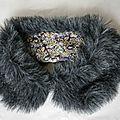 Cols Claudine fourrure grise - tatum violet