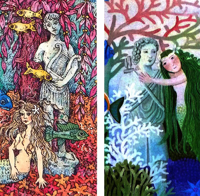 La petite sirène d'andersen - comparaison entre Monika Laimgruber et Danièle Bour - statue du jardi