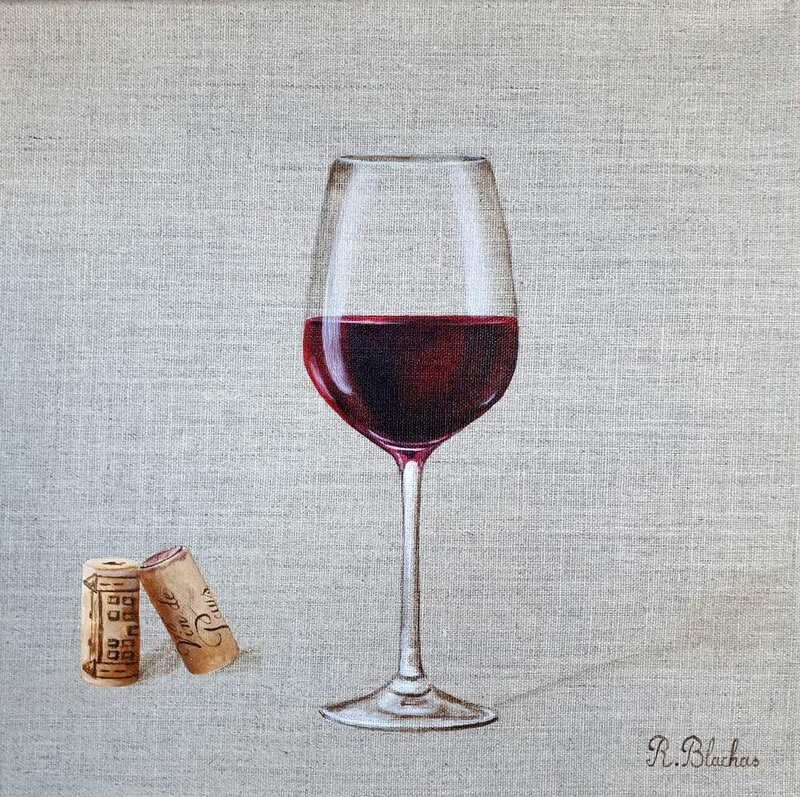 2019 collection glass of wine 14 30x30cm