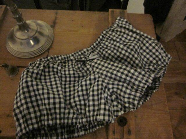 Culotte en vichy coton noir et blanc et noeud assorti - taille 34 (2)