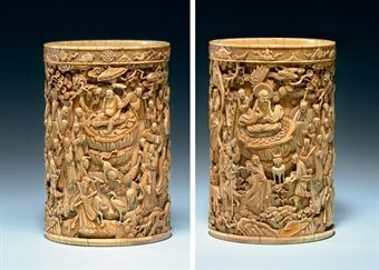 An Exceptional Carved Ivory Brush Pot 17th 18th Century Eloge De L Art Par Alain Truong