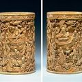 An exceptional carved ivory brush pot, 17th/18th century