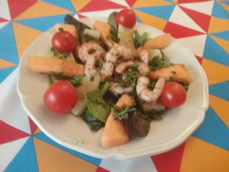 salade de papaye et poelee de gambas1