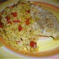 Blanc de dinde au curry et son riz