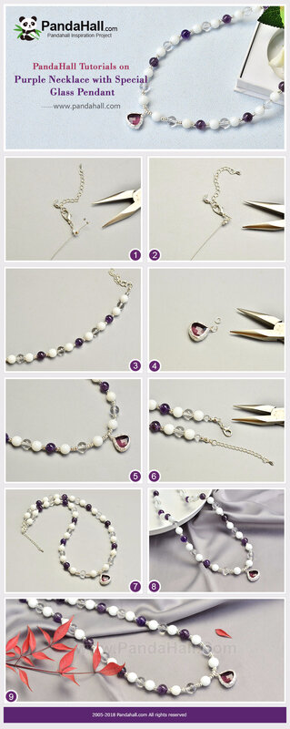 1-Purple Necklace with Special Glass Pendant