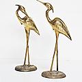 Décoration ... grands herons en laiton * duo