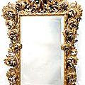 Rare miroir en bois doré. travail italien probablement florence, fin du xviie siècle