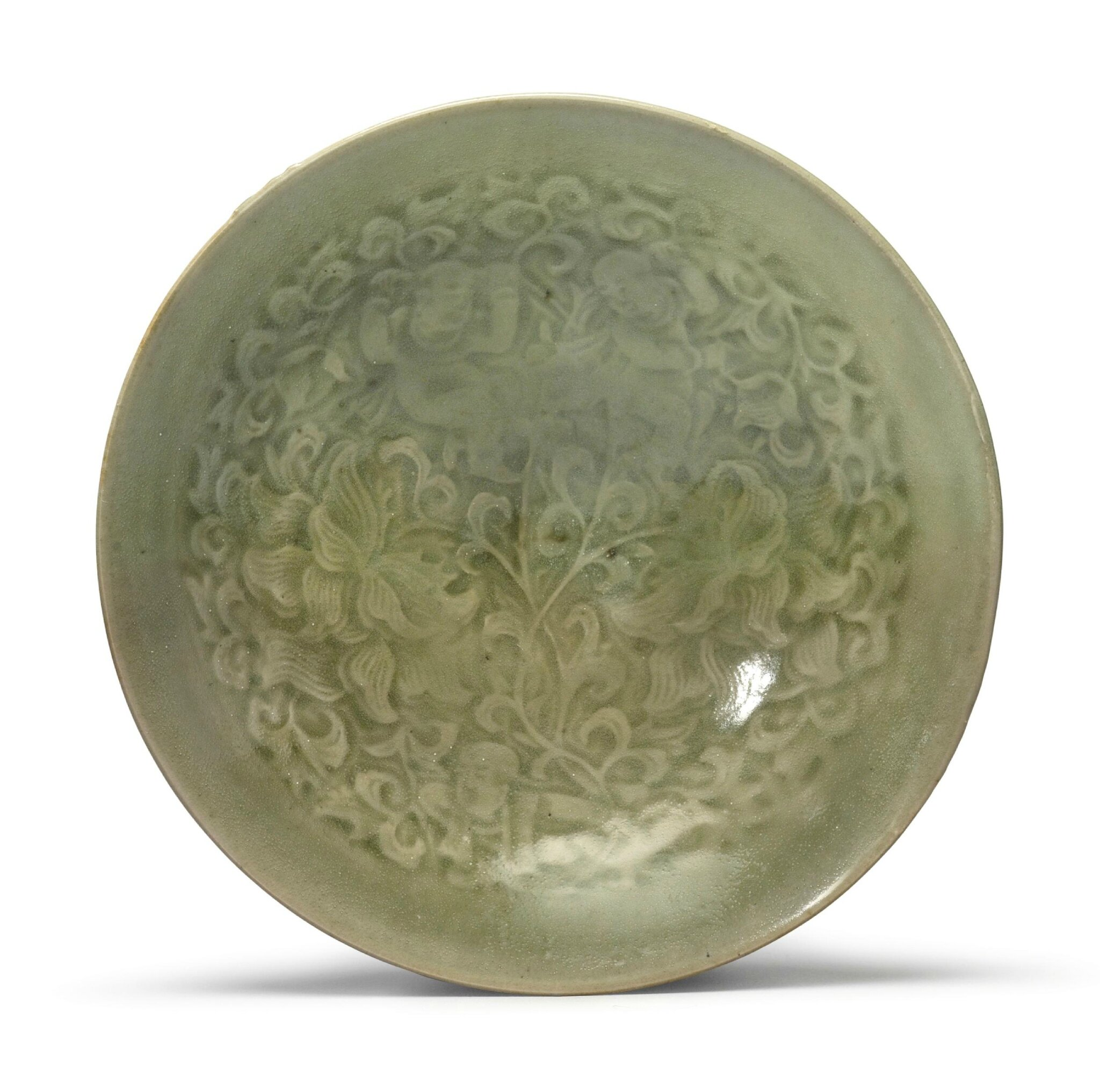 A molded 'Yaozhou' celadon-glazed conical 'Boys' dish, Northern Song-Jin Dynasty