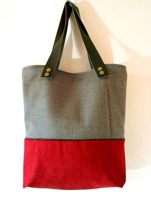 Sac cabas bicolore laine-coton rouge2