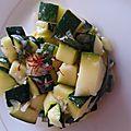 Salade de courgettes, vinaigrette au citron vert et au safran