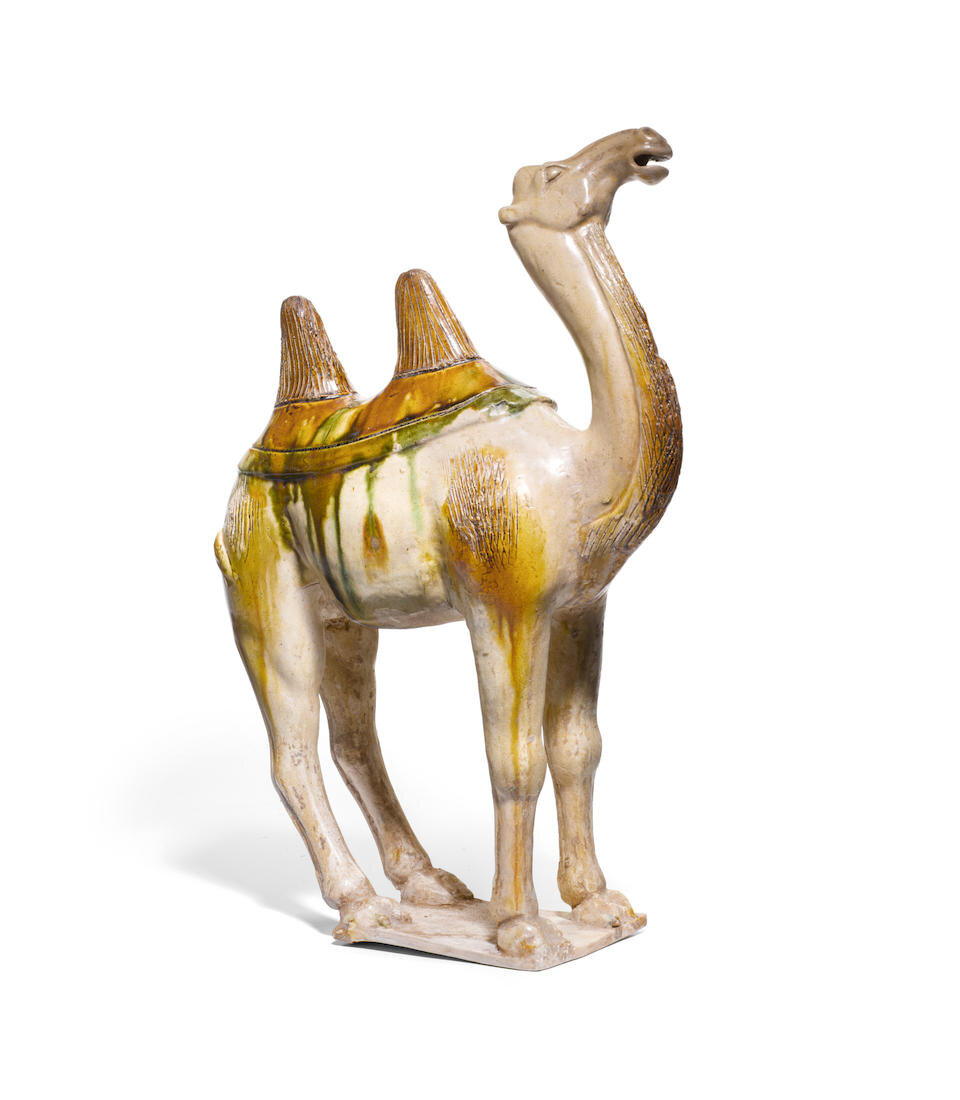 A sancai glazed pottery figure of a camel, Tang dynasty (618-907)