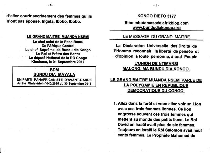 LE GRAND MAITRE MUANDA NSEMI PARLE DE LA POLYGAMIE EN RDC a