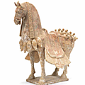 A painted pottery model of a caparisoned horse, eastern wei dynasty (534-550)