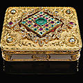 A richly-jewelled two-coloured gold snuff box, johann wilhelm keibel, st. petersburg, 1845