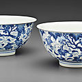 Two blue and white 'squirrel and grapevine' bowls, kangxi six-character marks and of the period (1662-1722)