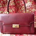 1002 - magnifique sac à main de la marque aries cuir bordeaux - vintage