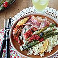 Saumon aux asperges et crevettes, sauce pimentée