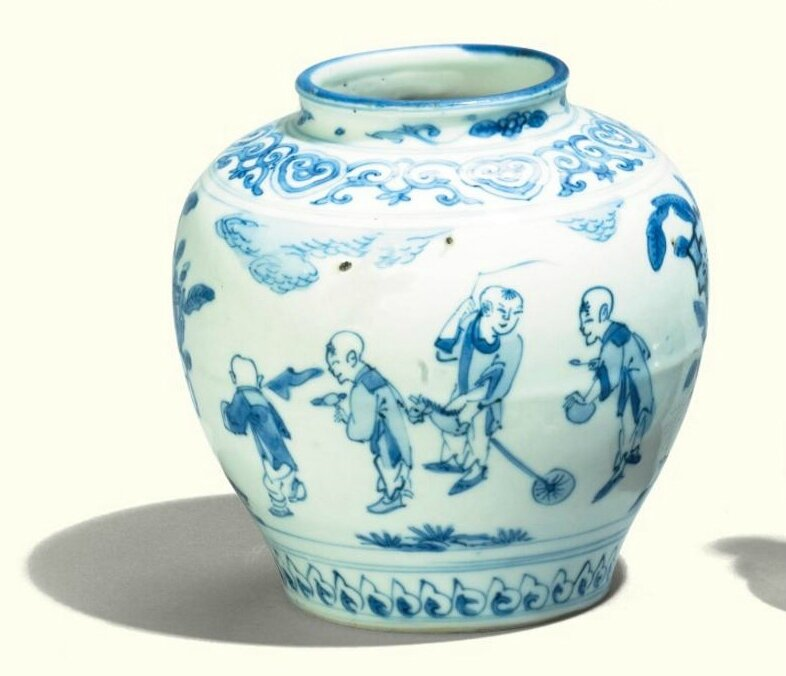 A Chinese blue and white 'boys' jar, 17th Century