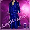 Robe cocktail en taffetas bleu