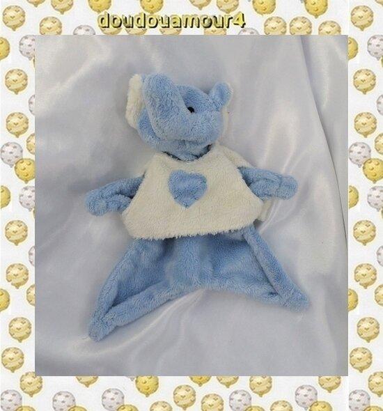 Doudou Peluche Plat Eléphant Bleu Haut Ecru Coeur Bleu Maxita