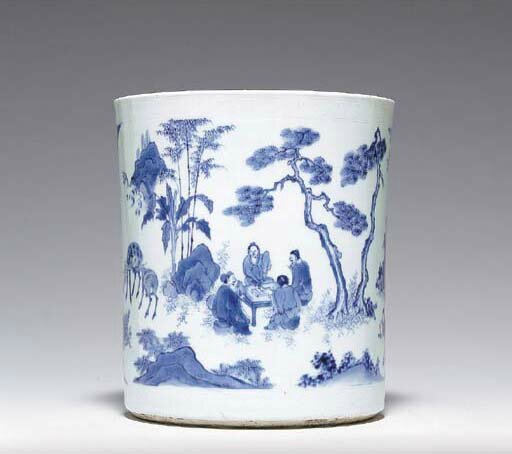A large blue and white brushpot, bitong, Transitional period, ca