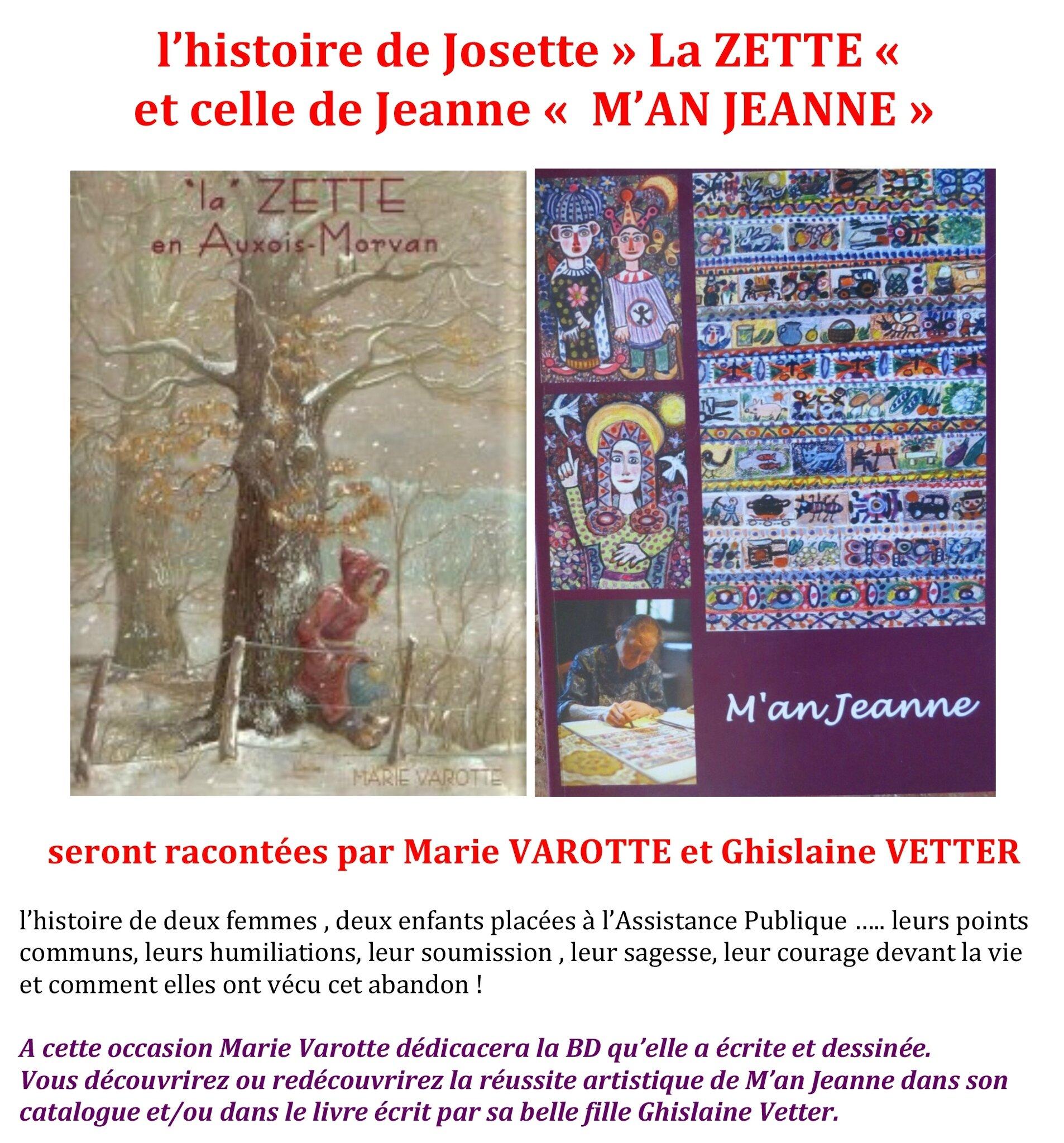 Samedi 22 Avril, venez écouter la vie de ZETTE et celle de M'AN JEANNE...