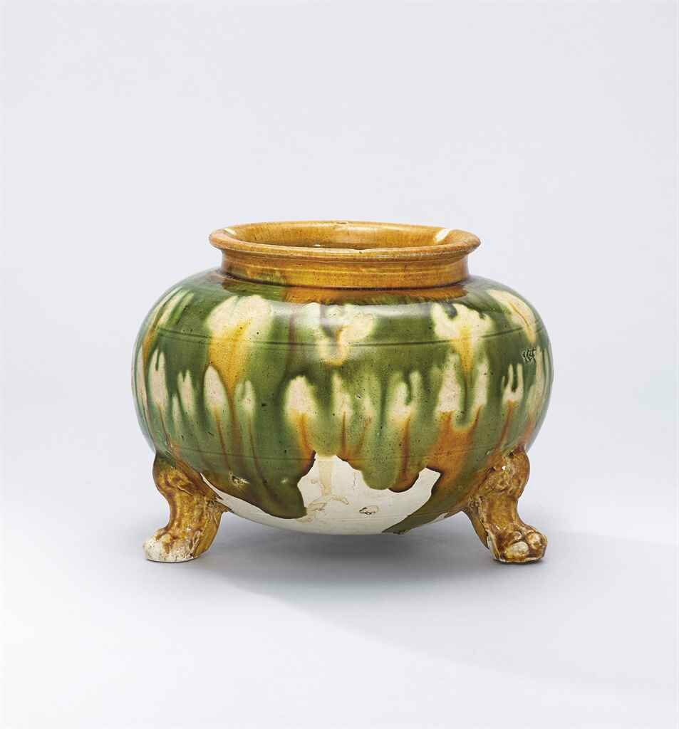 A sancai-glazed tripod jar, Tang Dynasty (618-907)