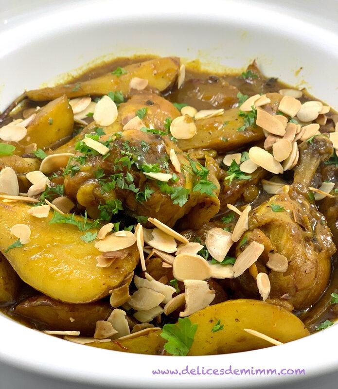 Tajine de poulet aux poires caramélisées 5